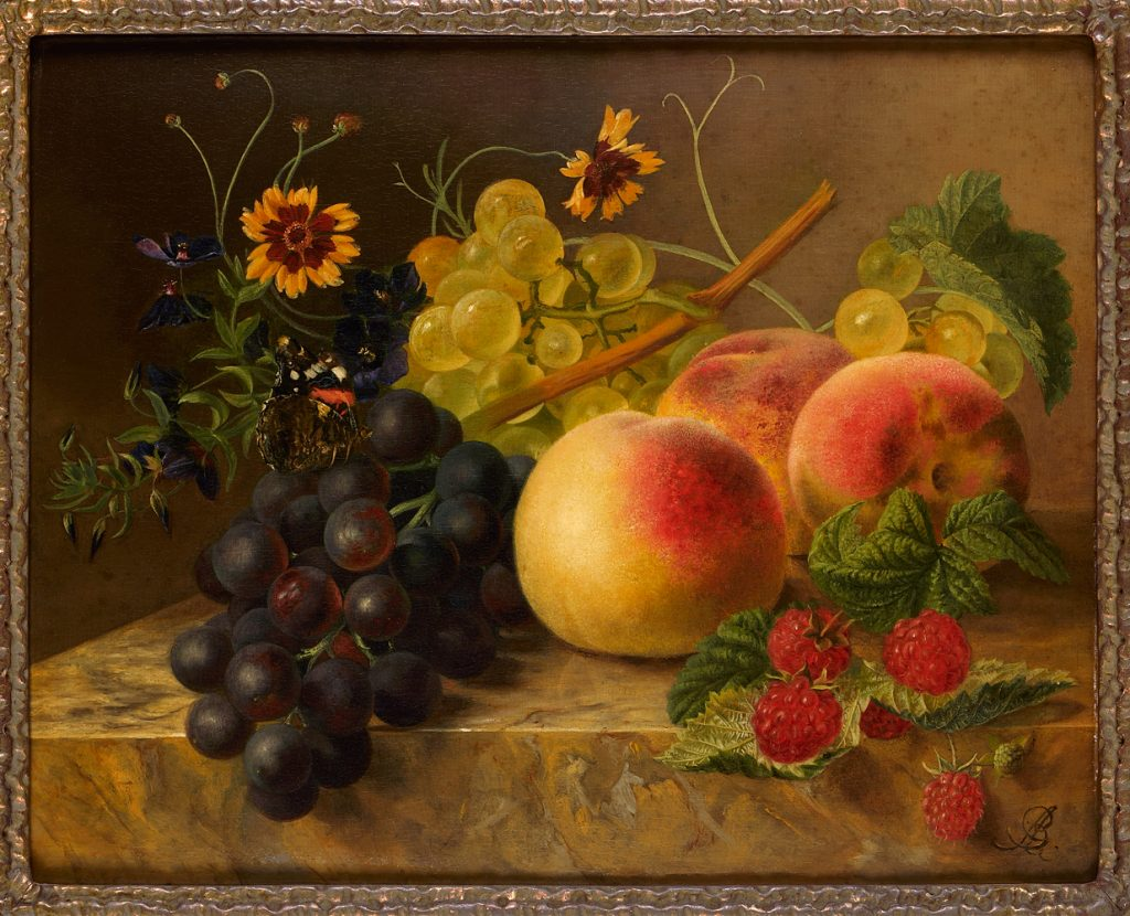 still life with fruit, flowers and butterfly